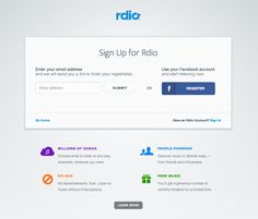 Signup Form from Rdio › PatternTap