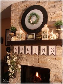 Easter Spring Mantel Ideas :: Attatch a curtain rod to the underside of the mantle.hang spring Christmas or seasonal decorations Seasonal Decor, Holiday Decor, Fireplace Mantle, Mantel Shelf, Modern Fireplaces, Bedroom Fireplace, Fireplace Ideas, Spring Home Decor, Spring Decorations