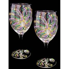 Mardi Gras Fireworks Wine Glasses 16oz.