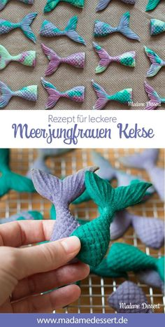 Super leckere Kekse in Flossen-Form. Das perfekte Rezept für… Super delicious Cookies in fins shape. The perfect recipe for yours Motto party, birthday party, kids birthday or Arielle fans. Hits Für Kids, Biscuits, Mermaid Cookies, Black Sesame Ice Cream, Mermaid Diy, Easy Smoothie Recipes, Mermaid Parties, Pumpkin Spice Cupcakes, Cake Toppings
