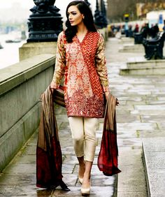 Sobia Nazir Embroidered Silk Chiffon Eid Collection 2015.