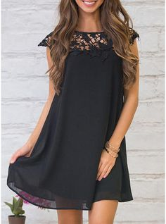 40a8962aaee2 Lace Solid Short Sleeves Shift Above Knee Little Black Casual Dresses  (199214322)
