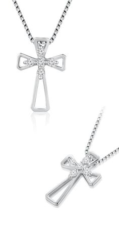 http://www.amazon.com/Stones-Diamond-Pendant-Sterling-Clarity/dp/B0132LR4FM/ref=pd_srecs_cs_197_6?ie=UTF8&refRID=13YE4KE0SZ5M5BB8PKTE A perfect gift for Christening and religious occassions. A modern take on a traditional design, this cross is an inspired look for the woman of faith. Fashioned in 18K gold, this classic cross form is centered with five sparkling diamonds.