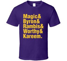 Magic Byron Worthy Rambis Kareem Best La Basketball History Retro Sports Fan T Shirt Basketball History, Retro, Sports, Mens Tops, T Shirt, Shopping, History Of Basketball, Hs Sports, Supreme T Shirt