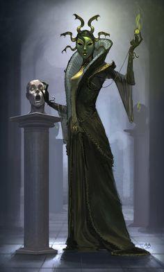 'Carnival Medusa', Anton Amstad on ArtStation. Gothic Fantasy Art, High Fantasy, Dnd Characters, Fantasy Characters, Medusa Art, Character Art, Character Design, Storm Kings Thunder, Dnd Art