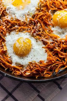 Easy Sweet Potatoes and Eggs. This makes my mouth water, potentially crispy sweet potatoes with runny egg, YUM!