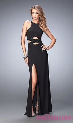 High Neck Black Prom Dress with Cut Outs by La Femme 16cb4e9a6fc9