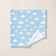 #White Cartoon Clouds on Light Blue Background Patt Wash Cloth - #cute #gifts #cool #giftideas #custom