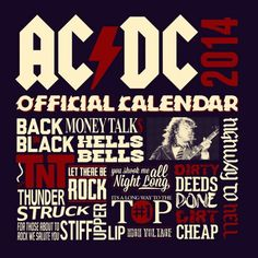 ACDC Calendrier 2014 Hard rock groupe Merch