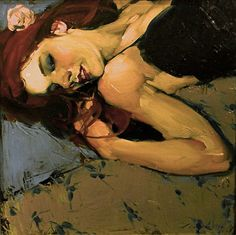 Malcolm T. Liepke (b. 1953), oil on canvas {figurative #impressionist art female redhead reclining woman painting #loveart}