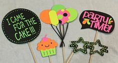 Neon birthday party photo booth props by ErinsHandcraftedCrea