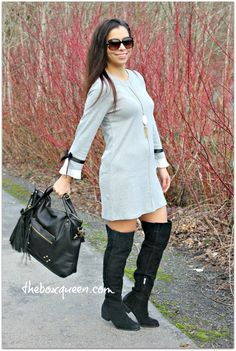How to Wear A Sweatshirt Shift Dress in A Casual Day Outfit, Sweatshirt Dress Outfit Idea