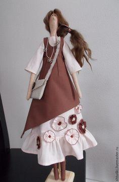 Купить Арлет - коричневый, тильда кукла, текстильная кукла, интерьерная кукла, подарок на любой случай ♡