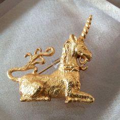 Vintage CINER for Metropolitan Museum of Art, Gold Tone Unicorn Signed Brooch #MMAbyCINERfortheMetropolitanMuseum