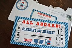 red and blue train themed choo choo first birthday party all aboard train ticket invitation