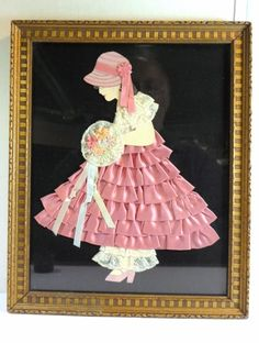 Vintage Framed PAPER DOLL LACE RIBBON LADY w/ BOUQUET PICTURE Pink & Cream Art