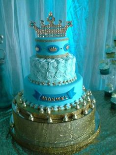 Blue and gold cake at a prince baby shower party! See more party planning ideas at CatchMyParty.com!