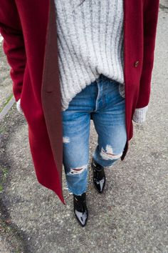 UNIQLO red coat, Rag & Bone Jeans, Topshop Sweater, Reike Nen Ring Boots