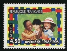 """UNICEF stamp - France, 1996 - Part of the """"50th Anniversary of UNICEF"""" series. For more information, please visit: http://www.unicef.org/"""
