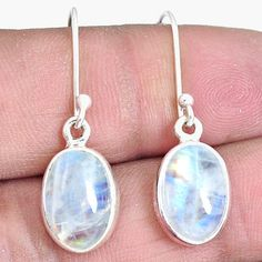 Blue Moonstone with Dot Accented Perimeter 925 Sterling Silver Dangle Earrings
