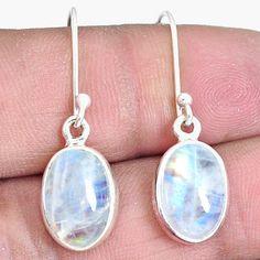 Moon Kyanite Chakra Healing Balancing Dangle Drop Earrings Sterling Silver 6 Ct