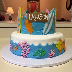 Beach theme cake  (creation by Sugar&Share, Half Moon Bay)