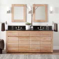 Maple and Black. Bastian Teak Double Vanity for Undermount Sinks - Whitewash - Bathroom Double Vanity, Diy Bathroom Vanity, Vanity, Vintage Bathroom, White Wash, Bathroom Niche, Industrial Style Bathroom, Undermount Sinks, Semi Recessed Sink