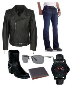 """guessing"" by darrick-howard-ii on Polyvore featuring Durango, Harley-Davidson, Chip & Pepper, Ray-Ban, Traser, Royce Leather, men's fashion and menswear"