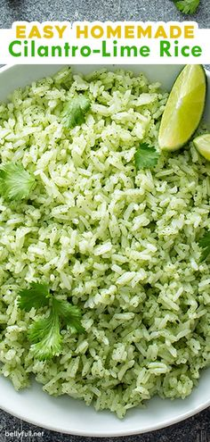 Cilantro lime juice and garlic transform regular white rice into something irresistible! This easy Cilantro Lime Rice recipe is a wonderful side dish that is the perfect accompaniment to any Mexican meal steak chicken or fish! White Rice Recipes, Rice Recipes For Dinner, Side Dish Recipes, Mexican Food Recipes, Xmas Recipes, Mexican Meals, Rice Side Dishes, Food Dishes, Side Dishes For Steak