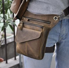 "Men Genuine Leather Riding Hiking Motorcycle 8"" Fanny Waist Pack Drop Leg Bags #leaokuu #FannyWaistPack"