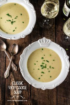 Classic Vichyssoise Soup | www.oliviascuisine.com | A leek and potato soup that is served chilled. Perfect as an appetizer or lunch main course during those hot summer months!