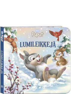 Puput, Lumileikkejä -kirjassa  talvi on saapunut metsään! Suloinen Rumpali-pupu ystävineen on riemuissaan lumesta. Mitä kaikkea siinä voikaan tehdä: ystävykset laskevat mäkeä, rakentavat lumesta pupun ja luistelevat peilikirkkaalla jäällä. Yhdessä leikkiminen on hauskaa! Kauniisti kuvitetun kirjan avulla pääsee sukeltamaan turvallisesti talven riemuihin. Kirjassa on tukevat kartonkiset sivut, joten se kestää hyvin pienten käsien selailua. Snowman, Disney Characters, Fictional Characters, Snowmen, Fantasy Characters