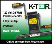 KTor Pedal Generator with 120 Volt 20 Watt output Folds to small size, easily protable and to set up easy to pedal for long periods of time, uses standard bike pedals Can be screwed down for stable operation Charge all portable electronics directly, laptops thru external battery and other appliance through 12 volt battery