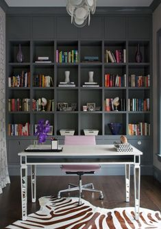 Animal print and modern chrome work brilliantly with the more traditional painted shelving unit. Old meets new with perfection. Such a stylish study