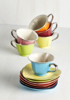 Dream and Sugar Tea Set in Silver Trim. Thank your friends for being so lovely by gathering them around this adorable teacup set for a gourmet fete! #multi #modcloth