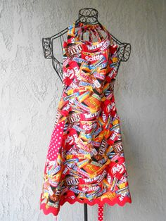 Candy Apron reverses to red with white dots by judarose on Etsy