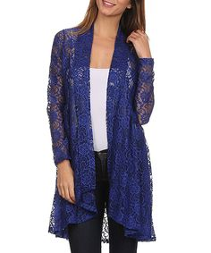 Look at this #zulilyfind! Pretty Young Thing Cobalt Lace Cardigan by Pretty Young Thing #zulilyfinds