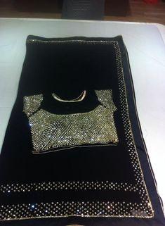 GEORGETT FANCY MIRROR WORK SARI PAIRED WITH DESIGNER MIRROR WORK BLOUSE.  Buy online Sarees   Elegant Fashion Wear Price;7500 #latest #mirror #saree #mirrorwork #designer #blouse