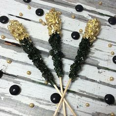 12 Black Gold Rock Candy Sugar Sticks Bridal Wedding Favors Party Sweets Table Candy Buffet Gluten Free