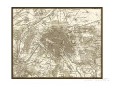 size: Art Print: Sepia Map of Paris : Paris Poster, Paris Map, Architectural Prints, Find Art, Framed Artwork, Tapestry, Art Prints, Image, Christmas Ideas