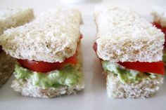 via @housewifebliss:Fun finger sandwiches for little fingers:  My Avocado & Tomato Finger Sandwiches featured on @celebrations.com