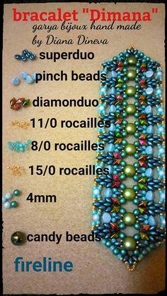Bracciale Dimana contiene 2 file PDF(parte 1 e parte 2 composti da 70 foto) Difficoltà:facile Materiale: per bracciale 18cm -superduo beads 10g ( pastel Emerald) -Pinch beads 16pezzi ( light blue) -Candy beads 10 pezzi(pastel olivine) -diamonduo 36 pezzi -perle 4mm 48 colore verde scuro e 16pezzi azzurri -rocailles 15/0 e 11/0 galvanized starlight -rocailles Silver-lined-milky-teal