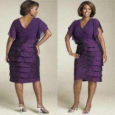 Plus Size 2015 Dark Purple Mother of the Bride Dresses V-Neck Zipper Backless Women Formal Gowns Cascading Ruffles Knee-Length New Arrival
