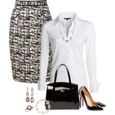 Office Wear – 77 A fashion look from February 2015 featuring button front blouse, knee length pencil skirts and black high heel shoes. Browse and shop related looks. Modest Outfits, Classy Outfits, Casual Outfits, Cute Outfits, Fashion Outfits, Casual Wear, Business Outfits, Office Outfits, Office Wear