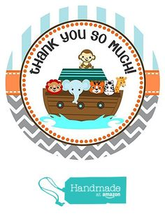 Noah's Ark Stickers - Thank You Favor Labels - Set of 30 from Adore By Nat…