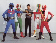 Heroes played by Hiroshi Miyauchi. (Left to right) Ao Ranger, Masked Rider V3, Hiroshi Miyauchi, Big One, Kaiketsu Zubat / 宮内洋が演じたヒーロー達 (左から) アオレンジャー、仮面ラーダーV3、宮内洋、ビッグワン、快傑ズバット
