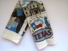 TEXAS State Tea Towel by Kay Dee Texas Map Souvenir Dish Towel Wall Hanging EUC