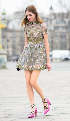 tres pretty dress. Chiara in Paris. #TheBlondeSalad