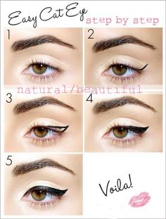 EASY CAT EYE - I suck real bad at eyeliner but I think even I could pull this off. Totally trying it out ღ