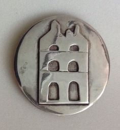 P Fales Sterling Silver Modernist Pin Brooch House Apartment Building Townhouse…